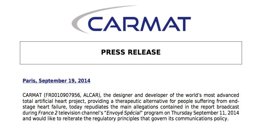 Press release Carmat artifical heart