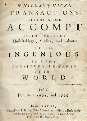 Title-page of Philosophical Transactions issue one