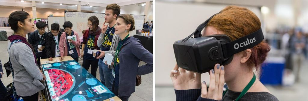 Left: Wellesley's Interactive Museum, Right: The 'Occulus Rift' Virtual reality tech from Team NYU Shanghai (Credit: iGEM Foundation & Justin Knight)