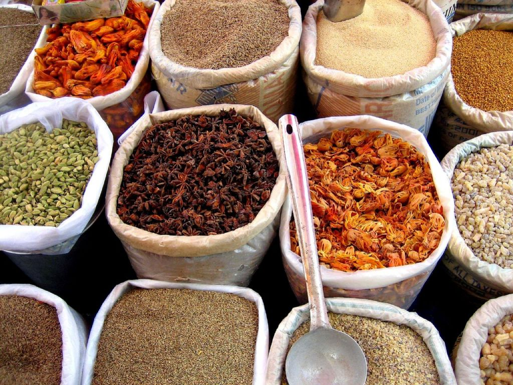 Spices for sale in an enclosed market place (also known as a Souq or 'Medina' in the Mahgreb regions of North Africa - i.e. Morocco, Tunisia etc.) (CC: William Neuheisel)