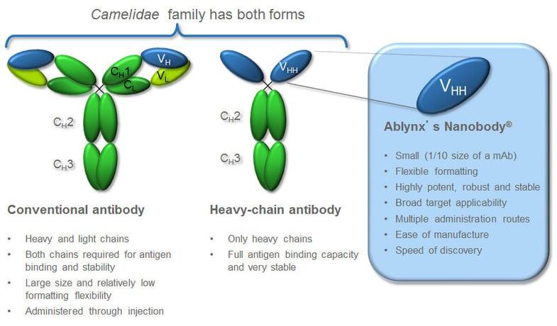 The Ablynx Nanobody platform is derived from Camelidae (Alpaca) anti-bodies The Ablynx Nanobody platform is developed from Camelidae (Alpaca) anti-bodies (Source: Ablynx)