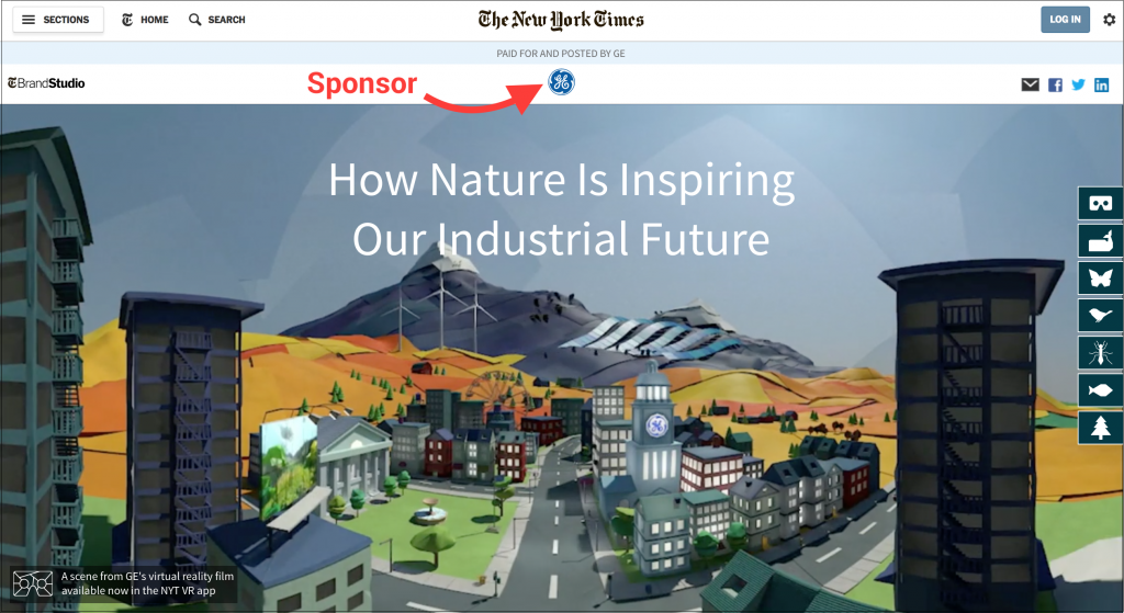 GE native advertising New york times