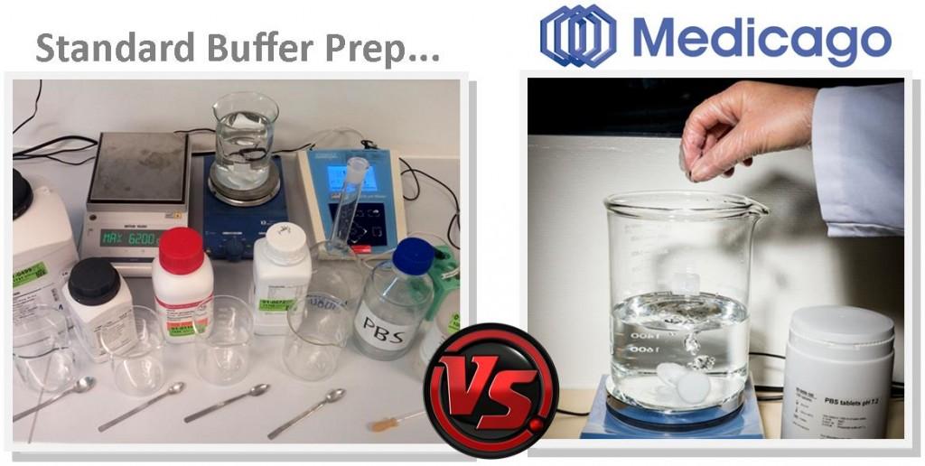 Standard buffer preparation vs. Medicago's solution