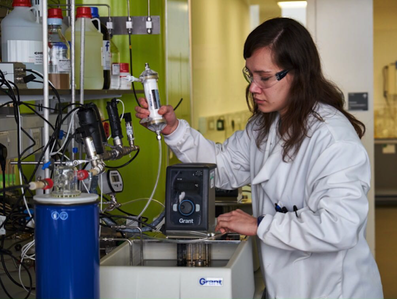 Edwina hard at work in the Cranfield Environmental Analytical Facility laboratories