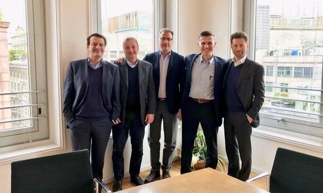 The co-founders of AuroA-TT, from left to right, Gabriele Campi, Paolo Rizzardi, Guido Guidi, Edoardo Negroni, Pierluigi Paracchi.