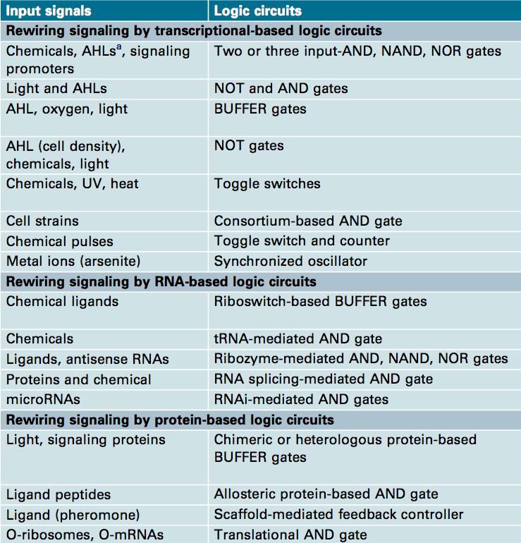 Examples of engineered genetic logic circuits