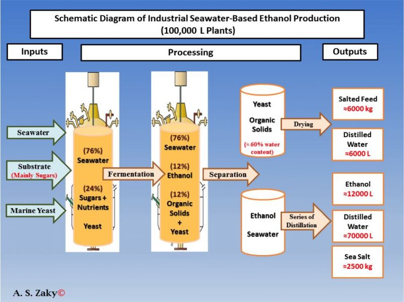 Schematic diagram of industrial seawater-based ethanol production (100,000 L plants) The content of this diagram was firstly suggested by Zaky in 2017 1 .